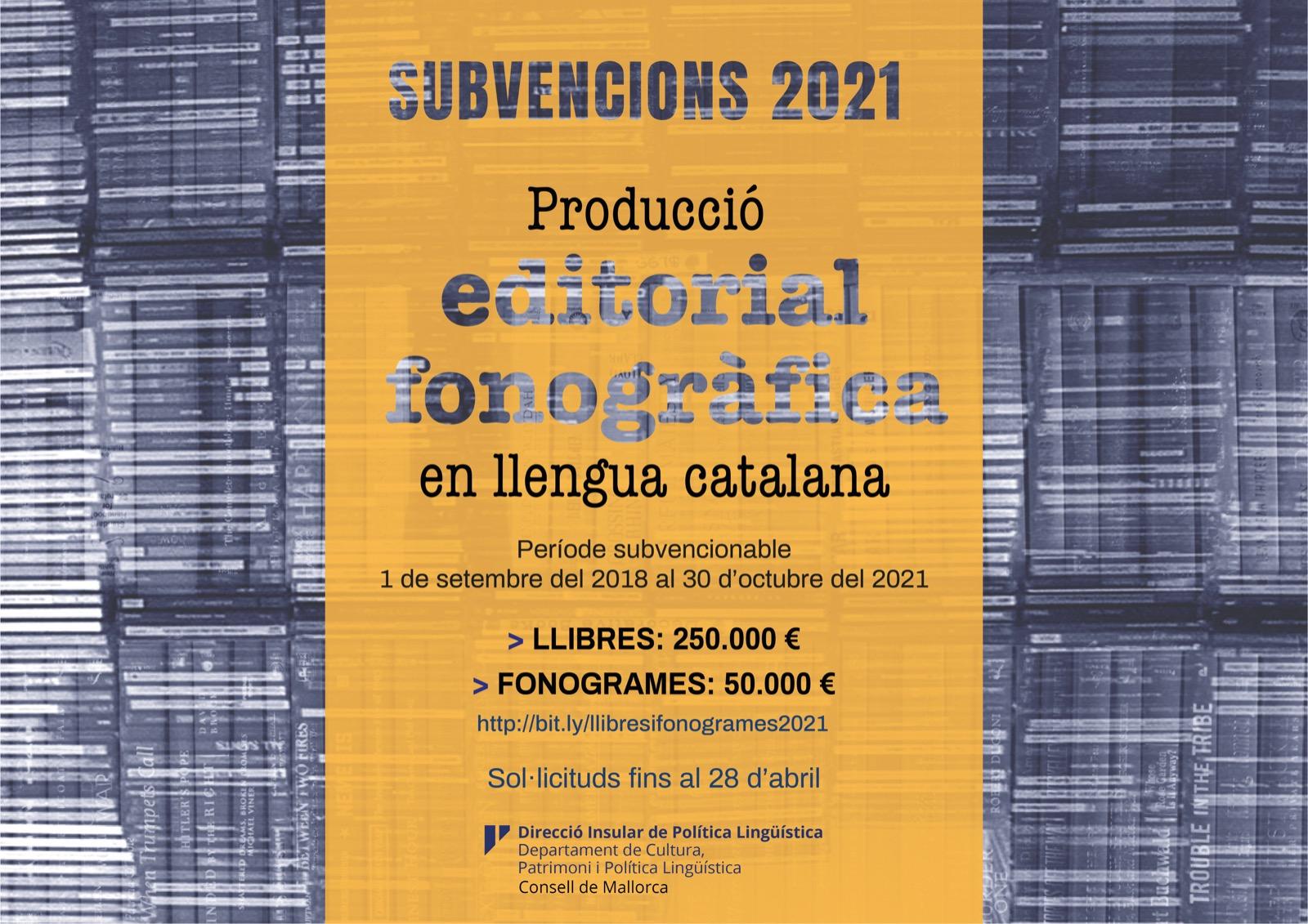Subvencions llibres i fonogrames 2021